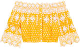Miguelina Renee Broderie Anglaise-trimmed Polka-dot Cotton Top - Yellow