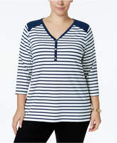 Charter Club Plus Size Striped Henley Top, Created for Macy's