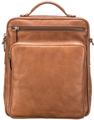 Maxwell Scott Bags Mens Large Camel Leather Backpack - Shoulder Bag