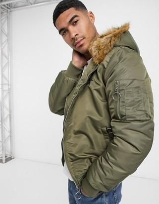 The Couture Club Dakota faux fur lined bomber jacket in khaki