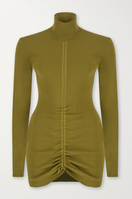 ZEYNEP ARCAY Ruched Ribbed-knit Turtleneck Mini Dress - Army green