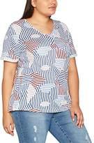 Ulla Popken Women's V-Neck Shirt Mit Modischen Streifen T-Shirt,26