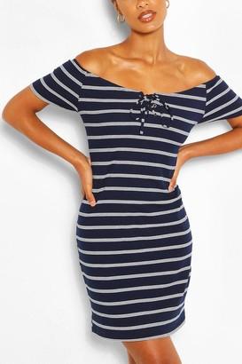 boohoo Striped Off The Shoulder Mini Dress