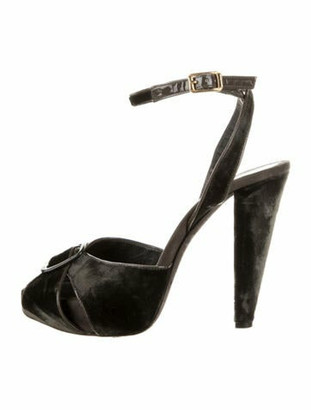 Giambattista Valli Velvet Platform Sandals Grey