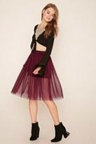 Forever 21 FOREVER 21+ Polka Dot Overlay Skirt