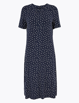 Marks and Spencer Jersey Polka Dot Knee Length Swing Dress
