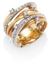 Marco Bicego Goa Diamond, 18K White, Rose & Yellow Gold Seven-Strand Ring
