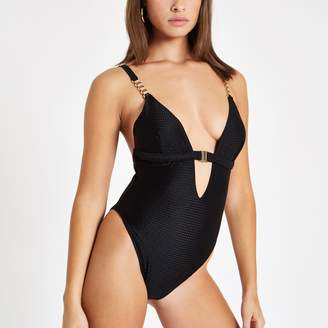River Island Womens Black textured clip front swimsuit