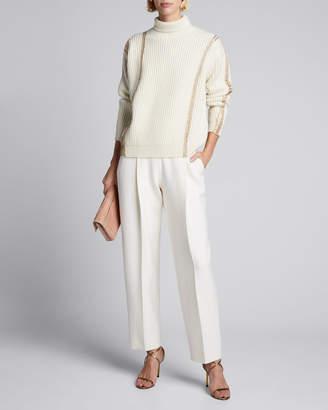 Oscar de la Renta Merino-Cashmere Striped Sweater