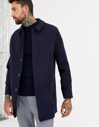 ASOS DESIGN wool mix coat in navy