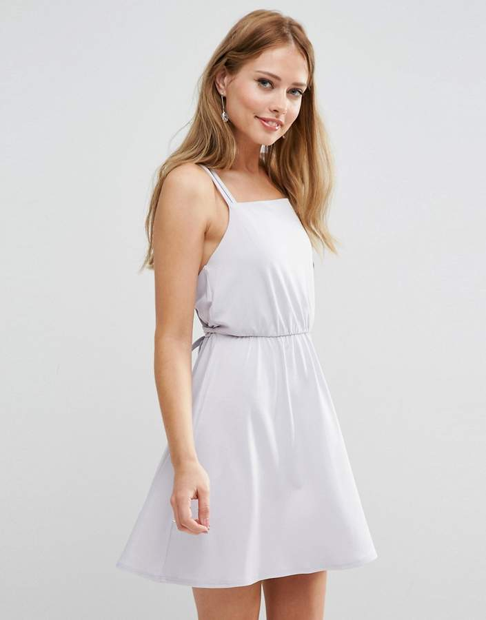 Asos Design DESIGN Bridesmaid crepe cross back mini dress