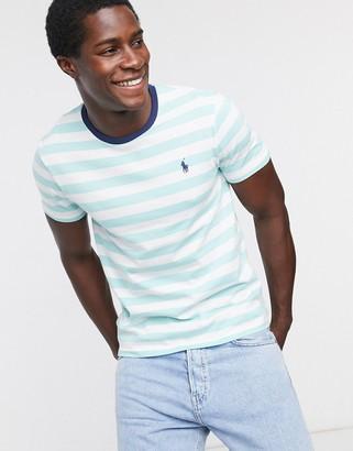Polo Ralph Lauren player logo stripe t-shirt custom regular fit in green/white