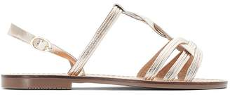 La Redoute Collections Metallic Leather Sandals with Woven Strap