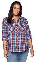 Lucky Brand Women's Plus Size Plaid Button up Shirt