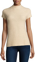 Neiman Marcus Cashmere Raglan Short-Sleeve Pullover Sweater, Oatmeal