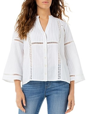 Liverpool Los Angeles Embroidered Flare-Sleeve Top