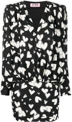Gina Heart-Print Draped Drop-Waist Dress