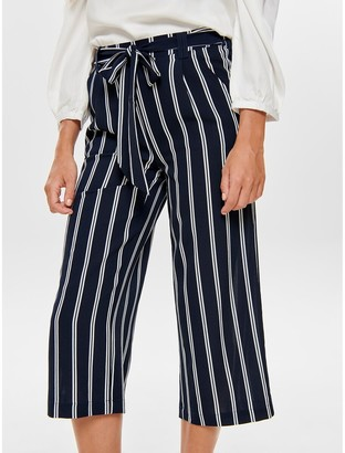 Only Striped Wide Leg Trousers with Tie Waist