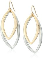 T Tahari Silver and Gold Drop Earrings