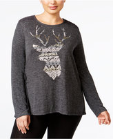 Style&Co. Style & Co Plus Size Deer Graphic Top, Only at Macy's