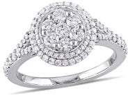 Sonatina 14K White Gold & 1 TCW Diamond Cluster Vintage Halo Engagement Ring