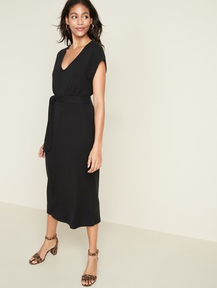 Old Navy Tie-Belt Rib-Knit Midi Shift Dress for Women