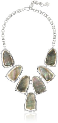 Kendra Scott Women's Harlow Necklace Rhodium/Suspended Black Mother-of-Pearl Necklace