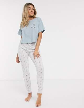 New Look caffeine queen pyjama joggers set in blue