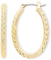 Liz Claiborne Gold-Tone, Textured Oval Hoop Earrings