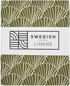Swedish Linens - Single Bed Olive Green Organic Cotton Seashells Print Fitted Sheet - single   organic cotton   olive green - Olive green