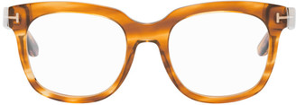 Tom Ford Brown Blue Block Square Glasses