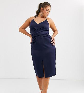 ASOS DESIGN Curve cami midi dress with wrap waist in satin