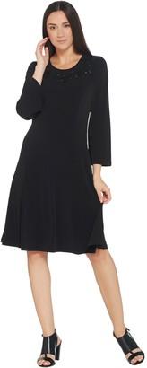 Susan Graver Artisan Liquid Knit Dress w/ Beaded Applique