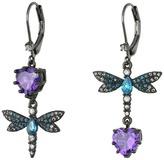Betsey Johnson Purple/Blue Dragonfly CZ Earrings