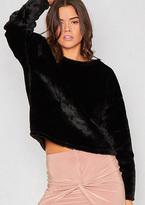 Missy Empire Bryony Black Faux Fur Jumper
