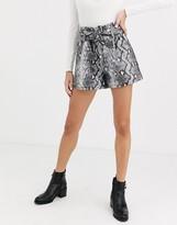 Miss Selfridge faux leather shorts tie waist in snake print