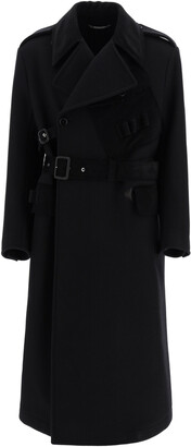 Dolce & Gabbana DOUBLE-BREASTED COAT WITH BELT 48 Black Wool, Cotton