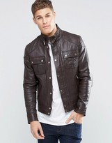 Asos Leather Jacket with Chest Pocket