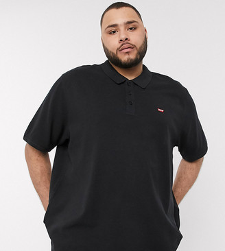 Levi's Big & Tall batwing logo pique polo in mineral black