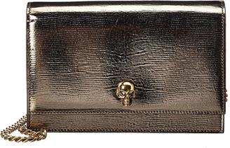 Alexander McQueen Skull Small Lizard-Embossed Leather Shoulder Bag