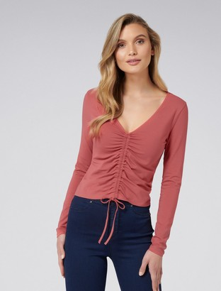 Forever New Cleo Ruched Front Tee - Cranberry Clay - xxs