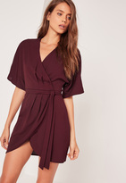 Missguided Kimono Wrap Over Belted Mini Dress Burgundy