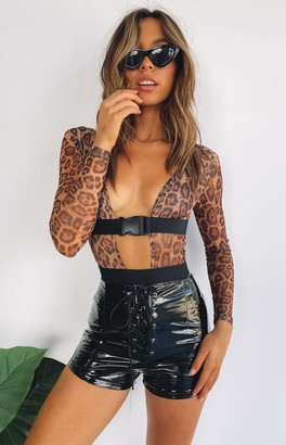 Bb Exclusive The Eye Of The Tiger Mesh Long Sleeve Bodysuit Leopard