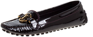 Louis Vuitton Burgundy Patent Leather Dauphine Loafers Size 37.5