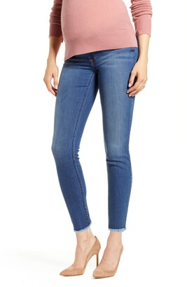 7 For All Mankind b(air) Raw Hem Ankle Skinny Maternity Jeans