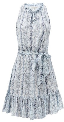Heidi Klein Ruffled Snake-print Crepe Dress - Blue Print