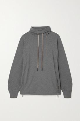 Varley Atlas Zip-detailed Melange Cotton-blend Jersey Sweatshirt - Dark gray