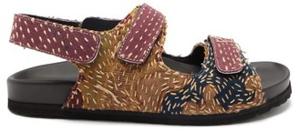 By Walid Felix 18th-century French Tapestry Linen Sandals - Dark Purple