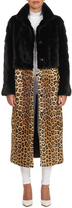Simonetta Ravizza Mink Fur Coat with Detachable Leopard-Print Skirt