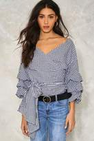 Nasty Gal nastygal Jump Ship Gingham Blouse